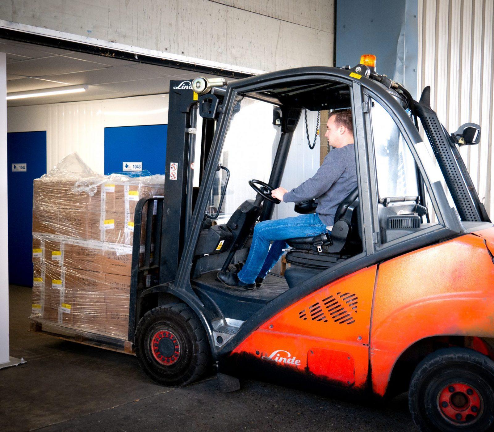 forklift truck at big blue squirrel storage