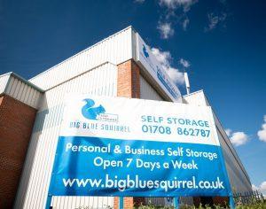big blue squirrel banner outside