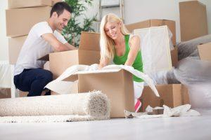 Couple packing for self storage